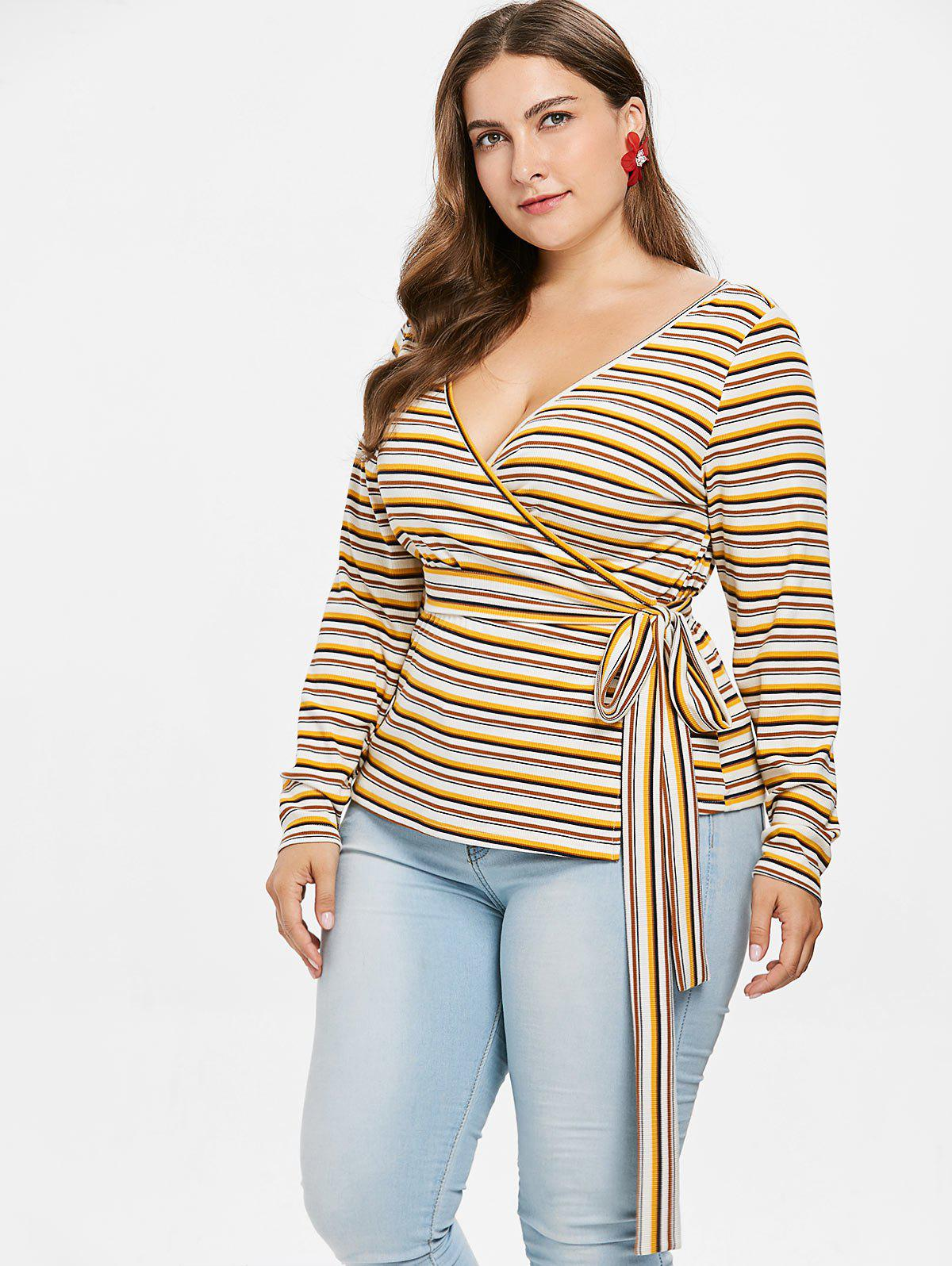 Plus Size Striped Knit Wrap T-shirt