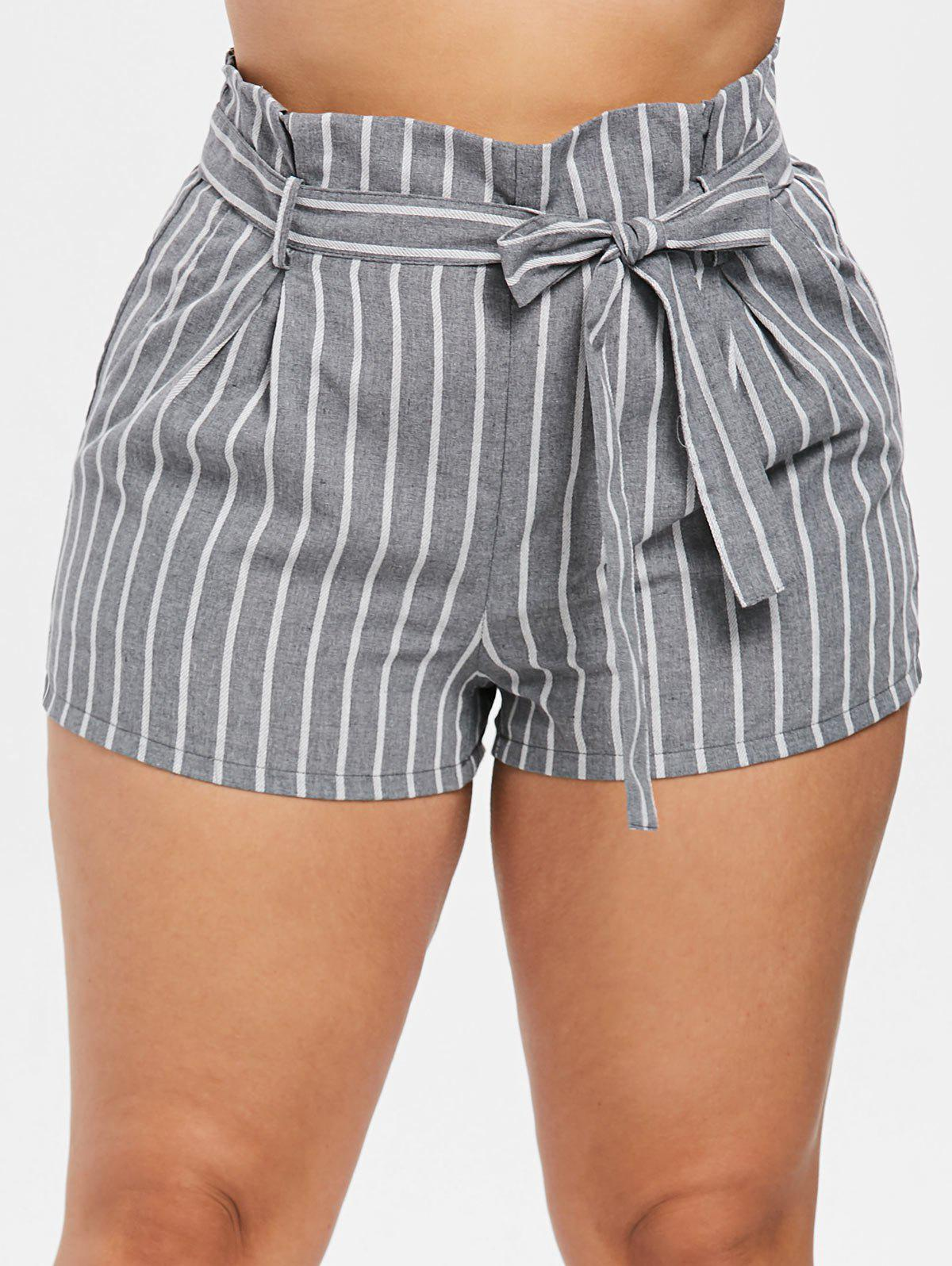 Belted Striped Plus Size Paper Bag Shorts