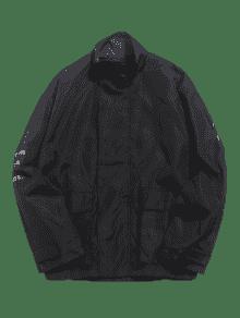 L Bordados Bolsillos Con Parche Cremallera Impermeables Negro Chaqueta x7nqZRw