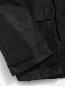 Negro Cremallera Parche Chaqueta Con Impermeables L Bolsillos Bordados twYxrXRqPY