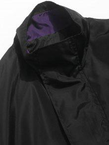 Impermeables Negro Parche L Con Bordados Cremallera Bolsillos Chaqueta 8xqBgwE