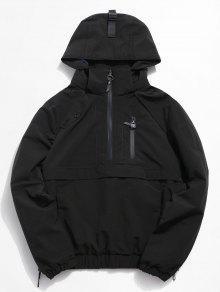 نصف الجيب جيب سترة مطر - أسود 2xl