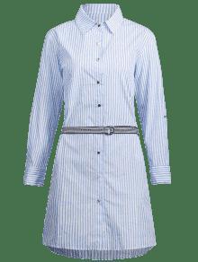 243;n Manga Vestido Cintur Rayas De S Larga A Camisa Con De Celeste aqwqfA1U
