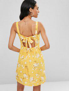 Vestido Abotonado Con S Mini Floral Lazo Amarillo PvAwWax6