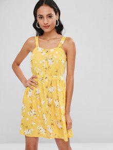 S Abotonado Lazo Mini Con Vestido Amarillo Floral 6UxqY5