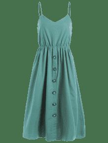 Cami Con Verde S A Azul Botones Media Pierna Vestido De SwBqAvgn