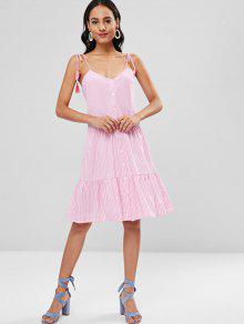 6aaa2a7b6d0 29% OFF  2019 Striped Tie Shoulder Button Up Dress In PINK