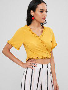 Amarillo Crop Wrap Trim Lechuga Up Tie Top S gWpHzR