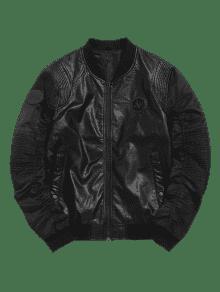 Chaqueta Cuero De De La PU Motocicleta Negro De De L La Bombardero rqHrB