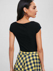 Acanalada B 225;sica Camiseta Negro Con Cuello S Redondo Hx7RE1WwRq