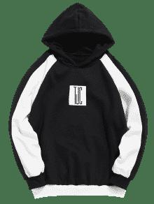 Negro Capucha Color Graphic L Sudadera Con Block qqI8wX