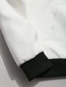 Blanco Capucha S Contraste Sudadera Polar Con Carta OxF1Xw