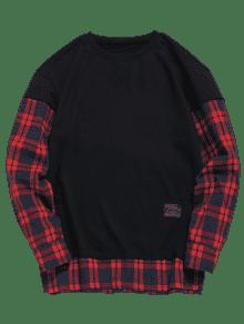 Fake Two Sudadera Patchwork S Negro Piece Comprobar qTpSn6wC6