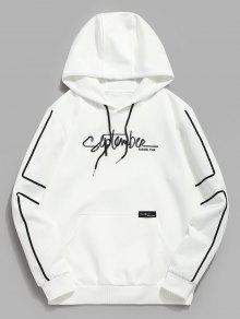 جيب التطريز الصوف هوديي التباين - أبيض Xl
