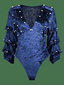 De De Con De 243;n Manga Imitaci Terciopelo L Pliegues Azul De Body Perlas dEcZqYWd