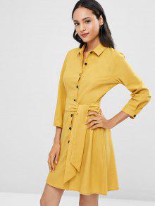 Amarillo Camisa S 243;n Vestido Abotonado Con Cintur De TPY17