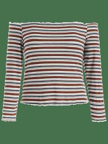Rayas Hombros Punto De 1x Multicolor Descubiertos Camiseta A Con CHvznHqx