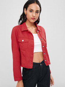 Chaqueta De Camisa Con Botones Desgastados - Amo Rojo M