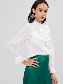 Camisa M Textura Con Blanco Volantes De XPgwPrFqx