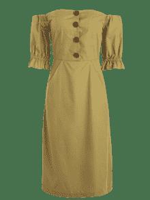 Mocas Vestido Abotonado De Medio Hombro T6nw8aIqF