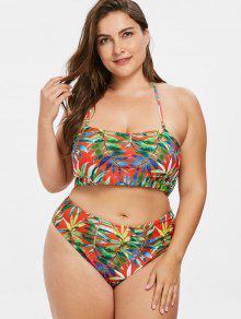 De Con Bikini De Hoja Estampado L Multicolor Size Juego Plus Bandeau dXaqnwx