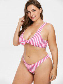 cf408077753 21% OFF  2019 Plus Size Striped Tie Front Bikini Set In HOT PINK