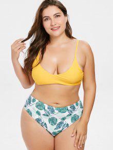Grande Bikini Palma Talla Caucho Ducky De 1x De Talle Amarillo Hoja Alto gqqwO1U7