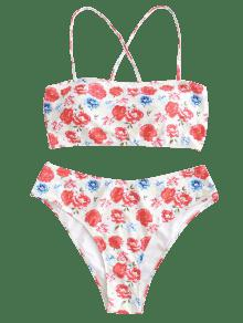 Floral L Grande a Bikini Multicolor De Cruzado Conjunto Talla w7ZnExR8Hq
