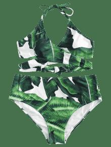 o De Conjunto Verde Primavera Mediana Dise Con De Bikini Hoja Ancha L Hoja Palmera De De R10wR4