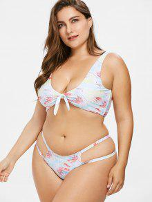 ZAFUL Plus Size Tie Dye Cutout Bikini Set - Multicolor L