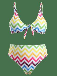 Talla a Zig Conjunto De L De En Bikini Anudado zag Grande Multicolor q0UOv