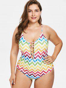 بالاضافة الى حجم منعرج الزق كريس عبر ملابس السباحة - متعددة-a 1x