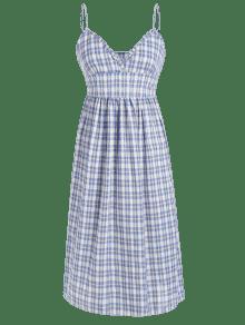 Casual Vestido De Cuadros Cami Line Un Multicolor De fBwqCqT