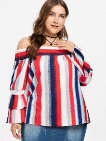 Top Off Striped Multicolor 2x Plus Size The Shoulder Txq1X