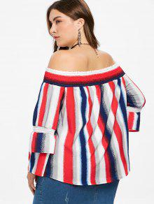 Top Size Plus The Multicolor 2x Shoulder Off Striped CqwFxXvC