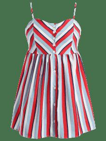Striped Multicolor Talla Mini ZAFUL Cami 1x Vestido Grande Ufwx7qd
