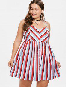 ZAFUL Multicolor Cami 1x Talla Striped Vestido Grande Mini q6pqnr