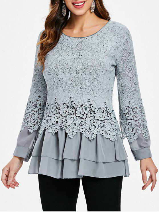 buy Long Sleeves Lace Panel Top - GRAY M