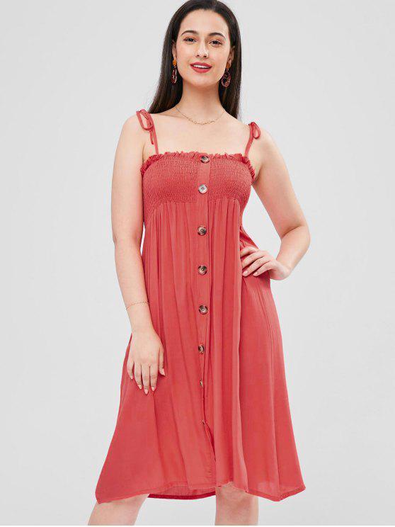 shop Tie Shoulder Shirred Cami Dress - BEAN RED M