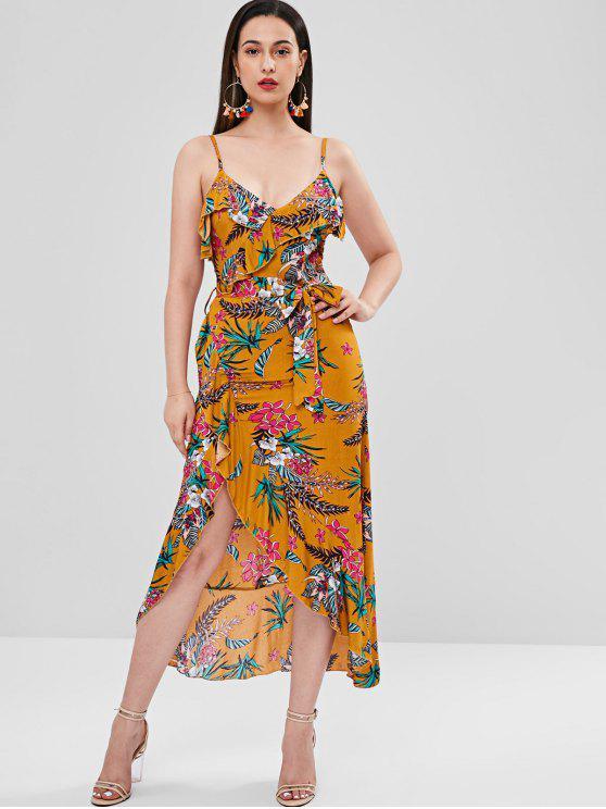 trendy Plant Print Ruffle Maxi Dress - ORANGE GOLD S