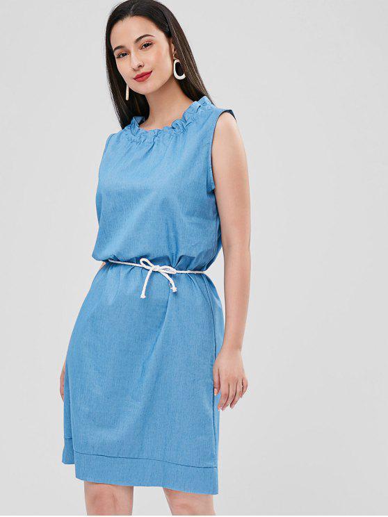Vestido Casual Ruff Collar Shift - Azul Cristal S