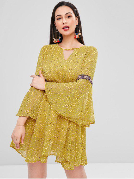Flare Ärmel Rückenfreies Mini A-Linie Kleid - Goldrute L