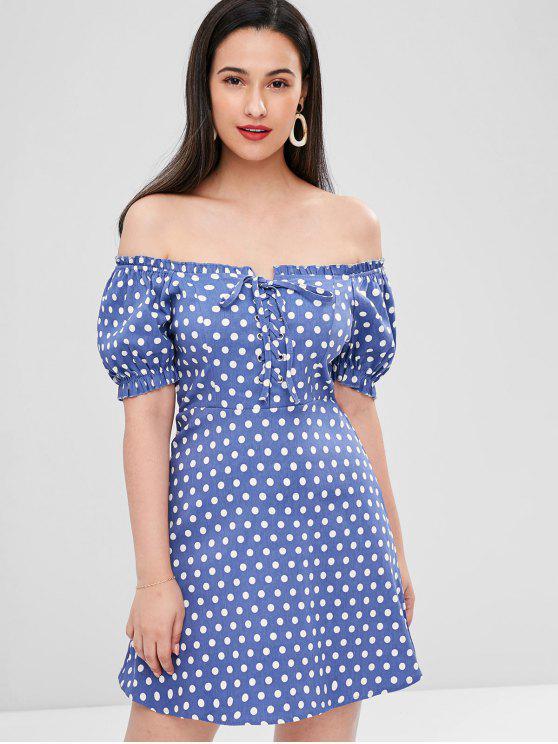 women Lace-up Polka Dot Dress - STEEL BLUE L