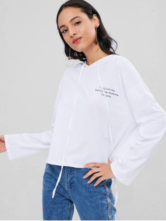 Drop Schulter Pullover Übergroße Hoodie - Weiß Eine Größe