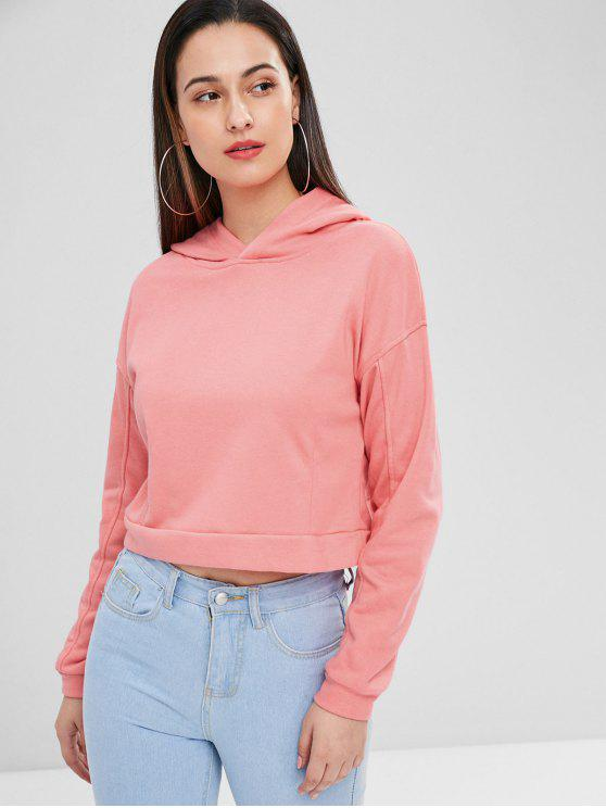hot Drop Shoulder Crop Hoodie - PINK M