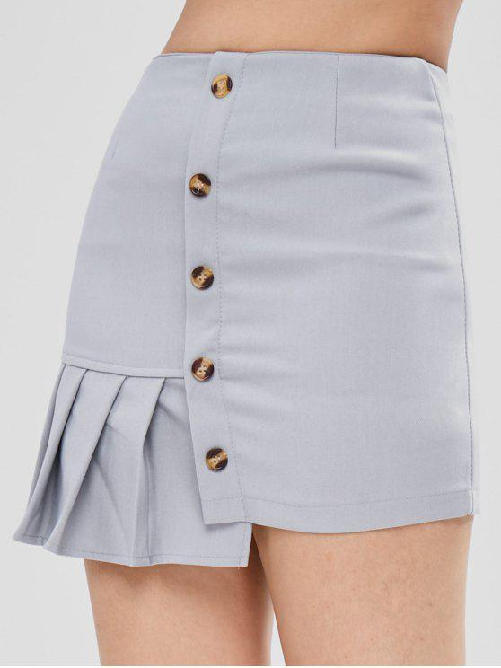 online Pleated Asymmetrical Skirt - WATER L