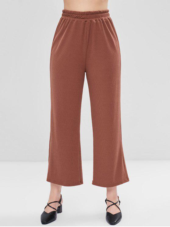 chic Ribbed Wide Leg Pants - BLOOD RED L