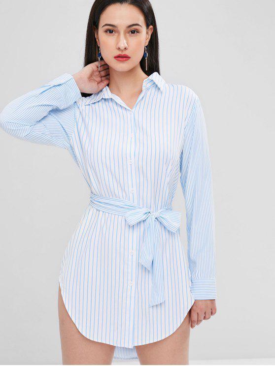 sale Striped Belted Shirt Dress - LIGHT SKY BLUE S