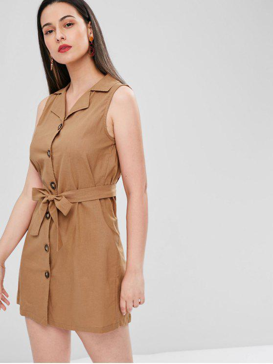 lady Belted Button Up Mini Dress - DARK GOLDENROD M