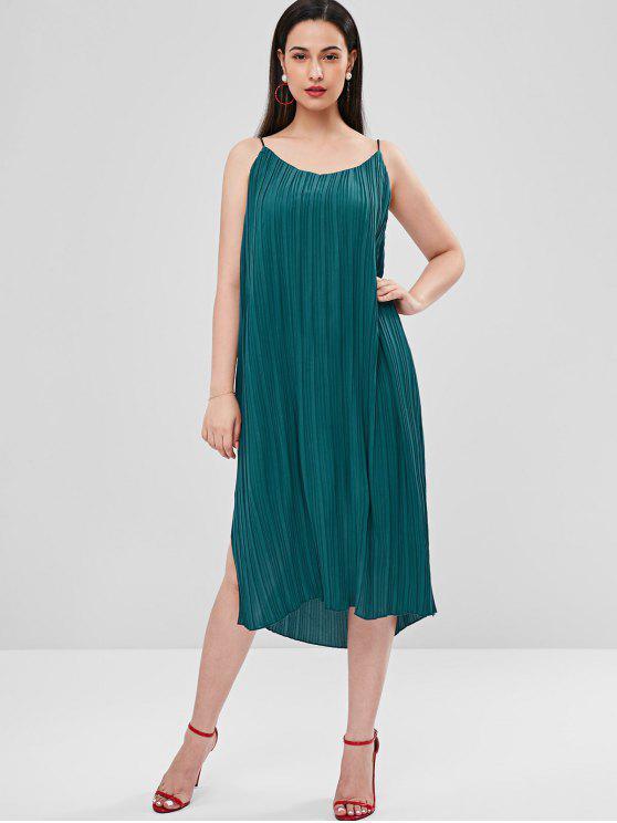 online Side Split Pleated Cami Dress - MEDIUM TURQUOISE L
